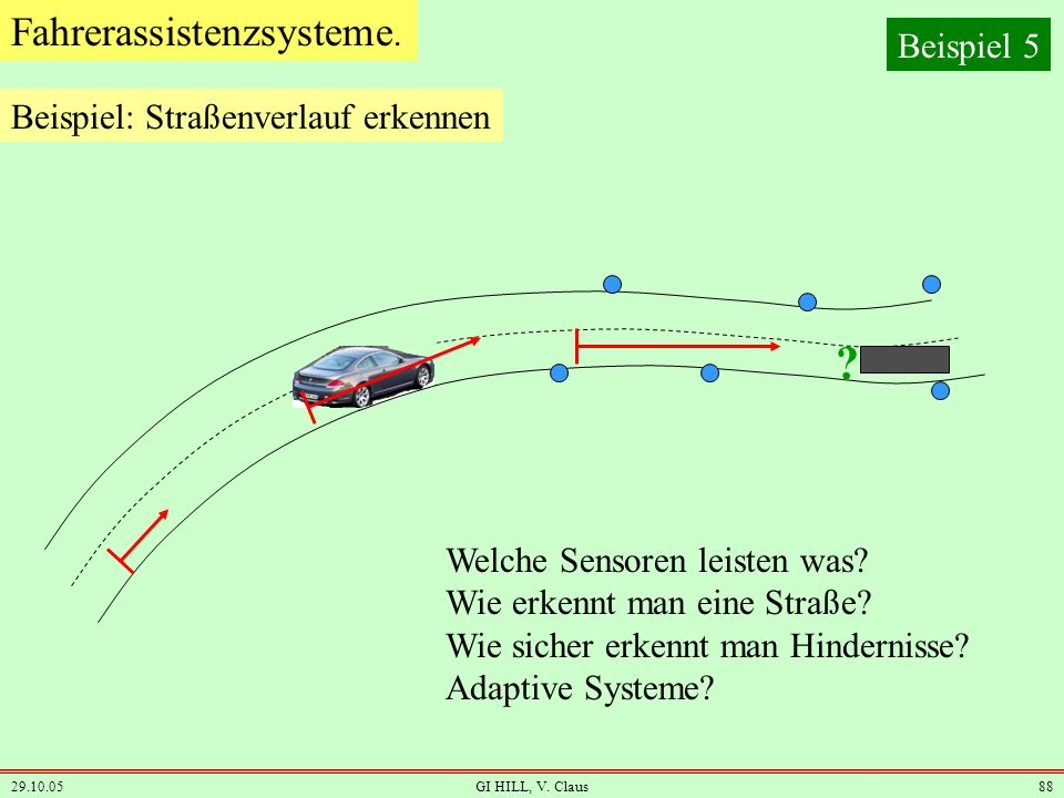 Fahrerassistenzsysteme. Beispiel 5 Beispiel: Straßenverlauf erkennen