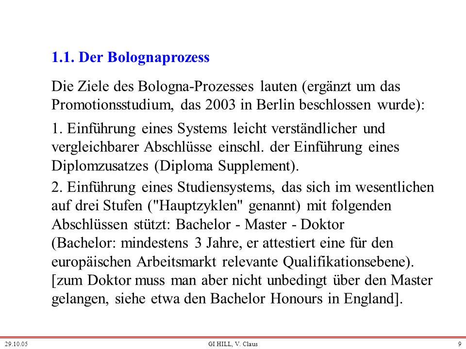 1.1. Der Bolognaprozess Die Ziele des Bologna-Prozesses lauten (ergänzt um das Promotionsstudium, das 2003 in Berlin beschlossen wurde):