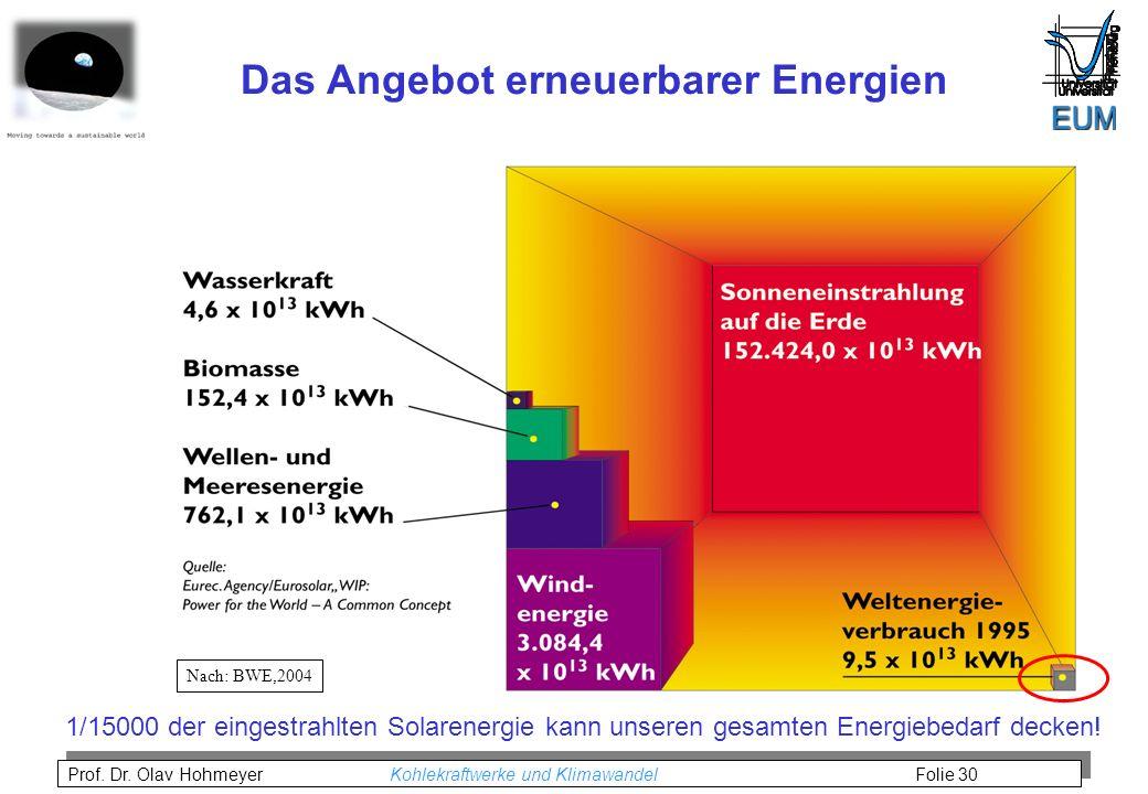 Das Angebot erneuerbarer Energien
