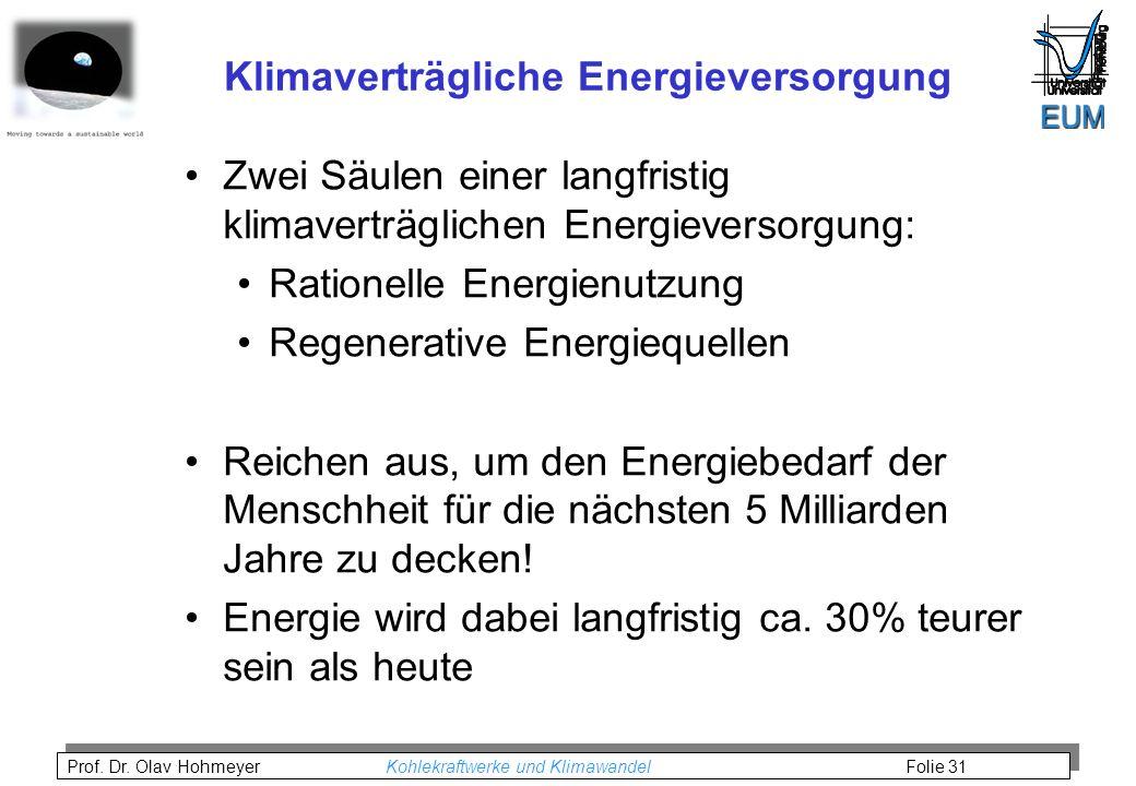 Klimaverträgliche Energieversorgung