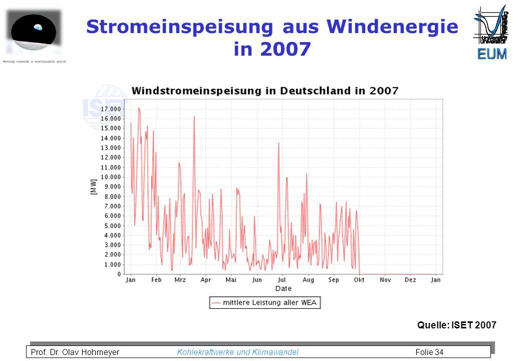 Stromeinspeisung aus Windenergie in 2007