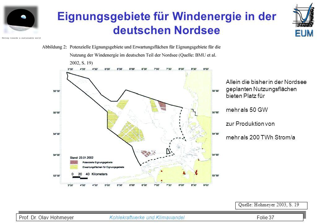 Eignungsgebiete für Windenergie in der deutschen Nordsee