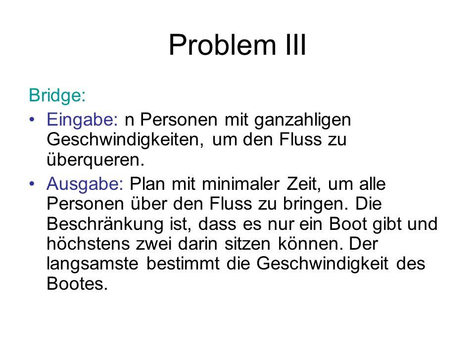 Problem III Bridge: Eingabe: n Personen mit ganzahligen Geschwindigkeiten, um den Fluss zu überqueren.