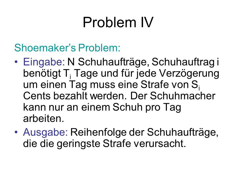 Problem IV Shoemaker's Problem: