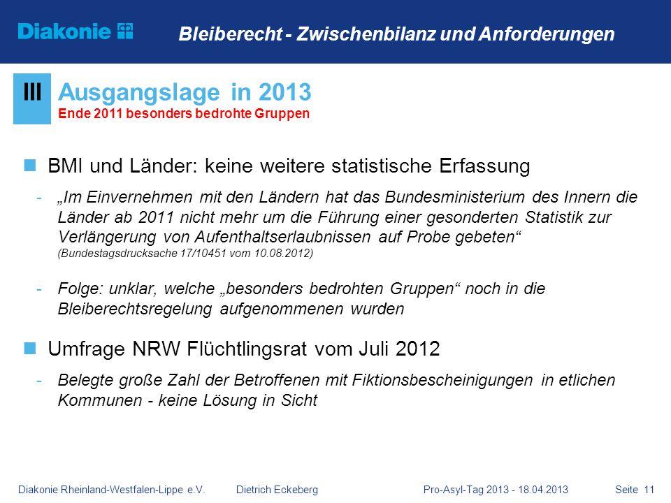 Ausgangslage in 2013 Ende 2011 besonders bedrohte Gruppen
