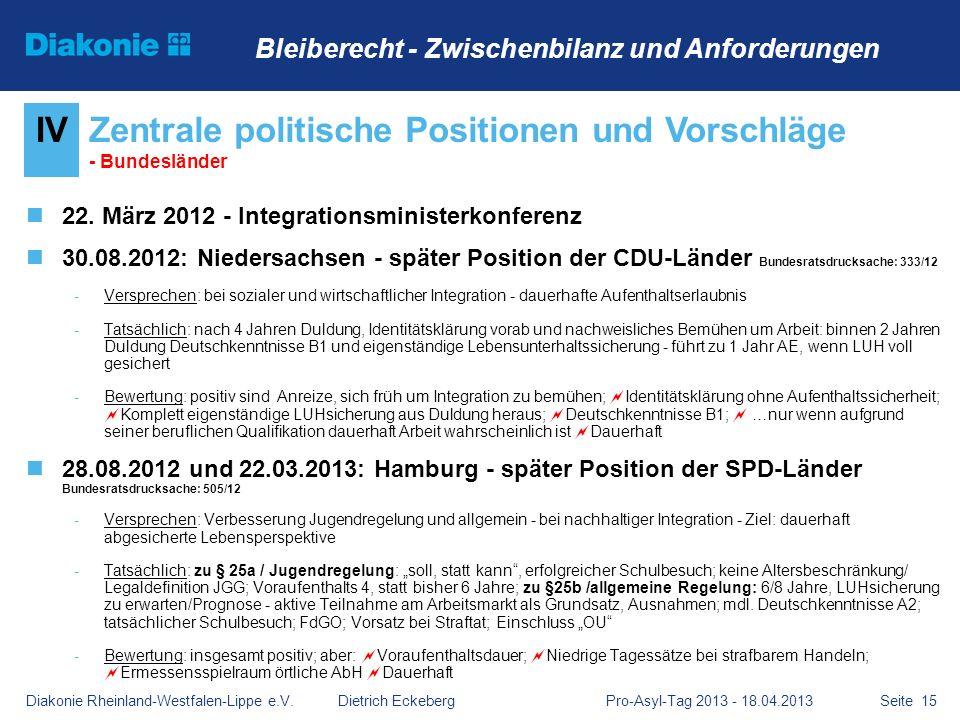 Zentrale politische Positionen und Vorschläge - Bundesländer
