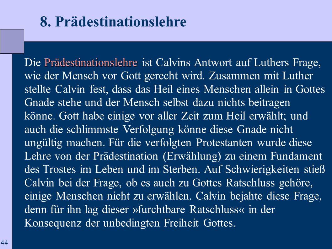 8. Prädestinationslehre