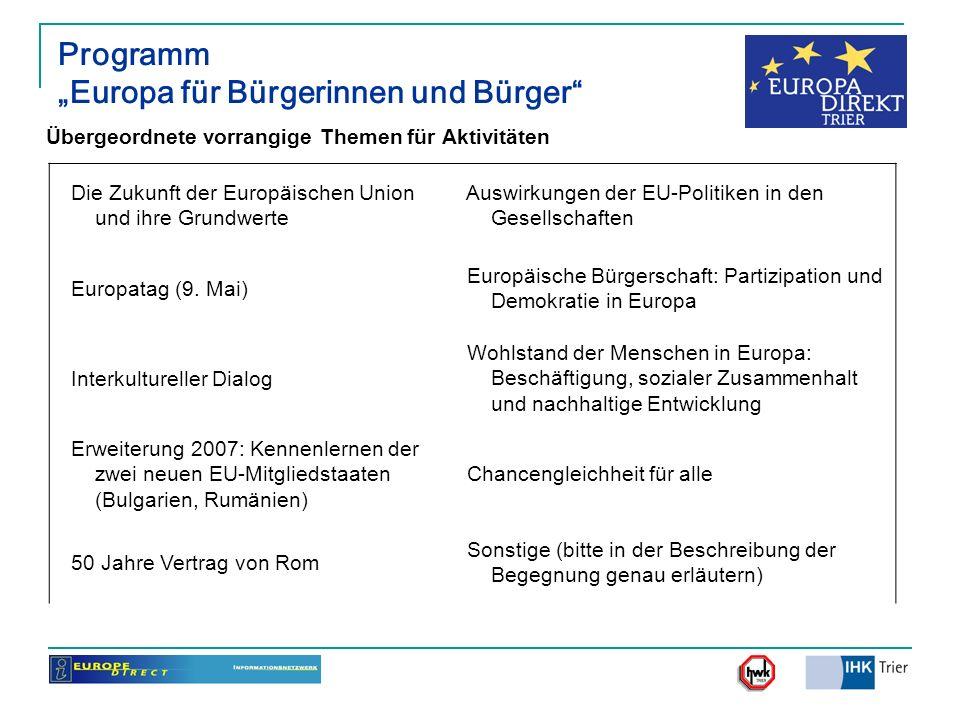 """Programm """"Europa für Bürgerinnen und Bürger"""