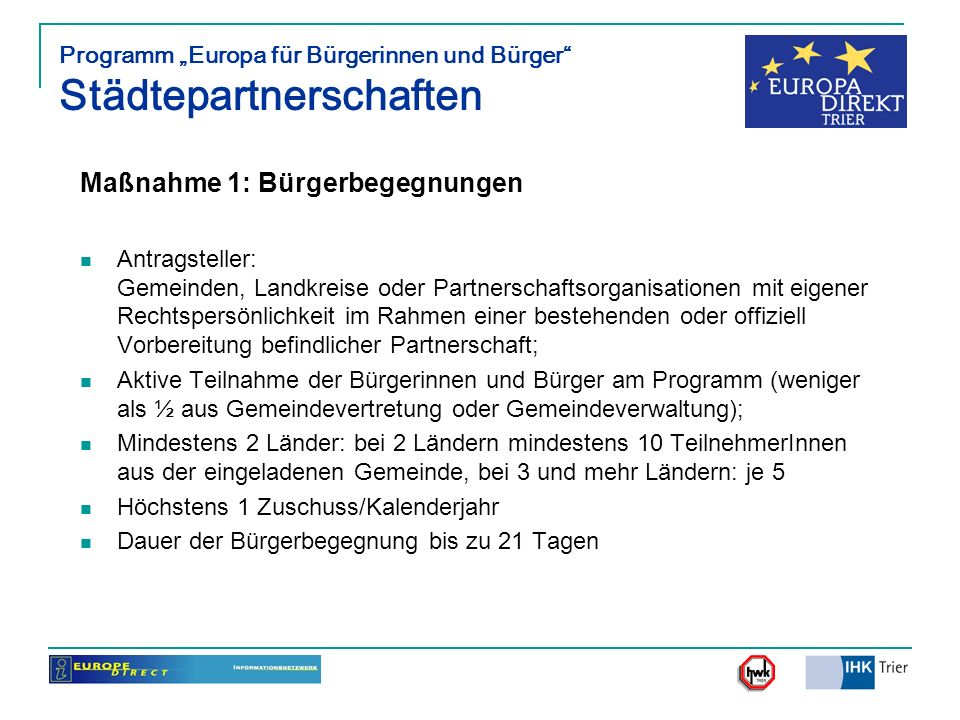 """Programm """"Europa für Bürgerinnen und Bürger Städtepartnerschaften"""