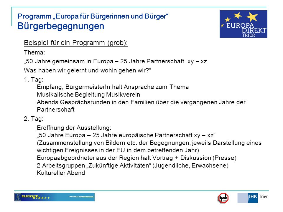 "Programm ""Europa für Bürgerinnen und Bürger Bürgerbegegnungen"