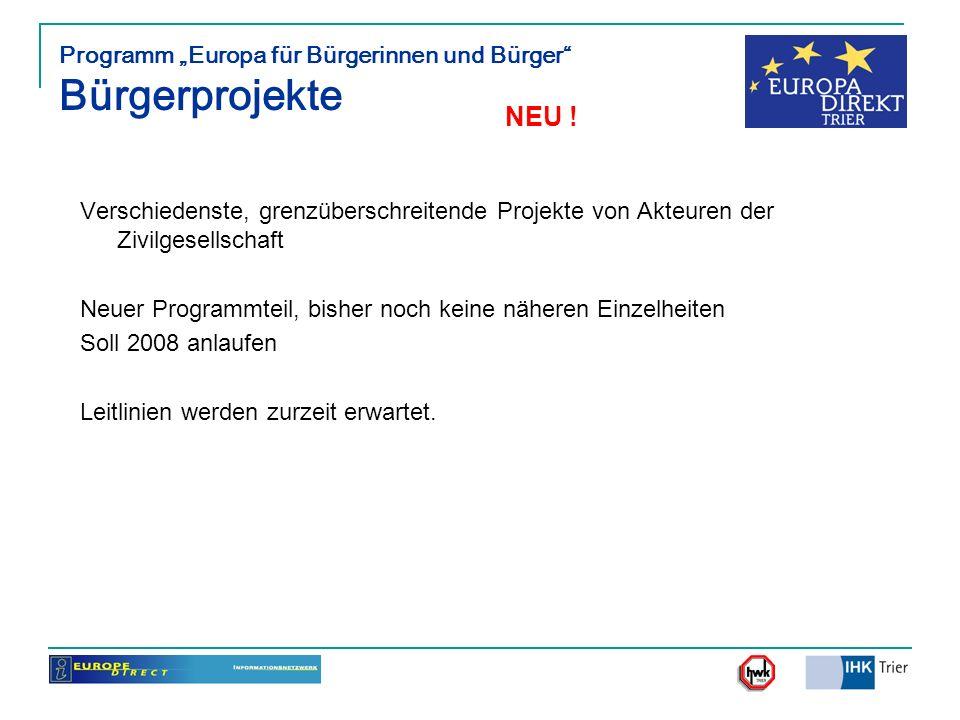 """Programm """"Europa für Bürgerinnen und Bürger Bürgerprojekte"""