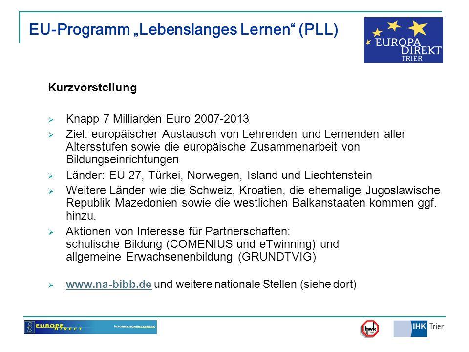 """EU-Programm """"Lebenslanges Lernen (PLL)"""