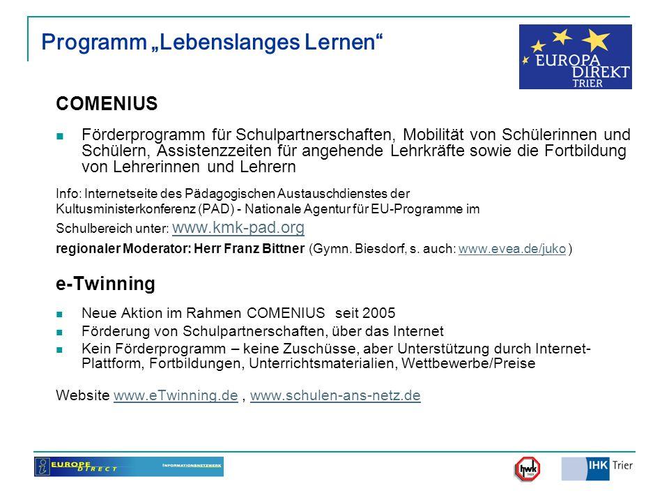 """Programm """"Lebenslanges Lernen"""