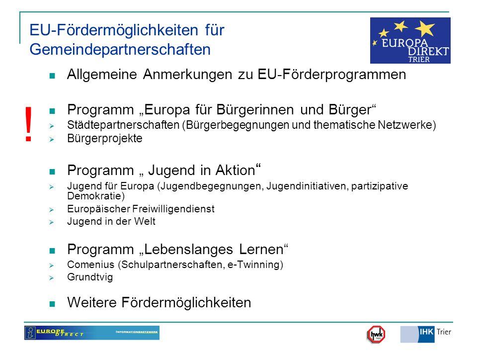 EU-Fördermöglichkeiten für Gemeindepartnerschaften