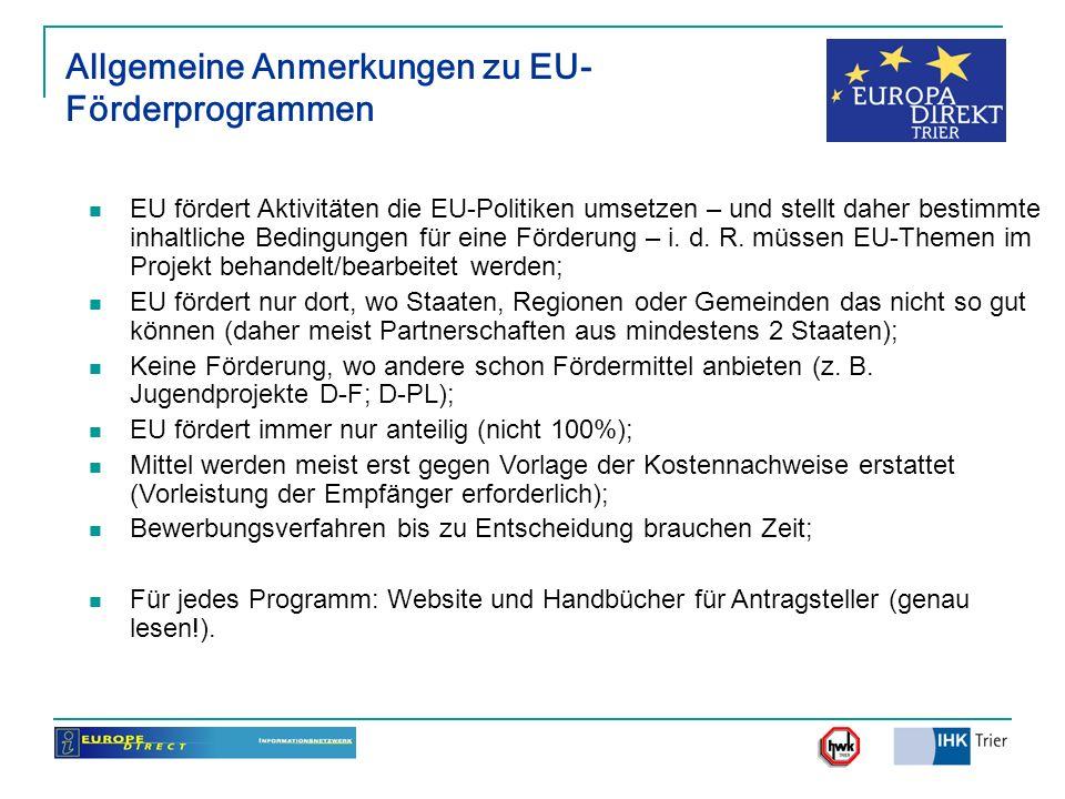 Allgemeine Anmerkungen zu EU-Förderprogrammen