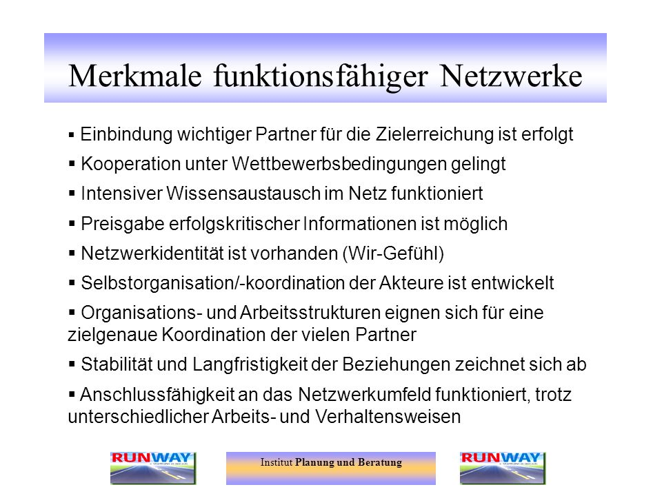 Merkmale funktionsfähiger Netzwerke
