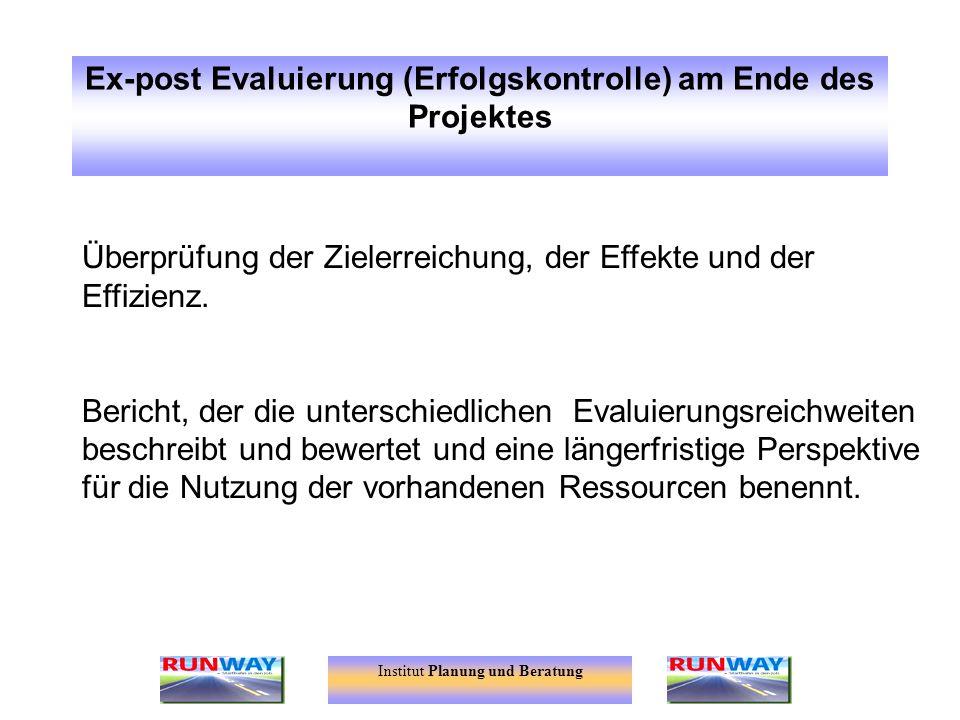 Ex-post Evaluierung (Erfolgskontrolle) am Ende des Projektes