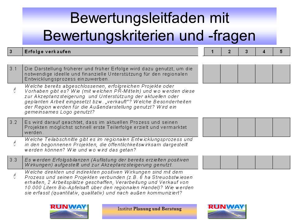 Bewertungsleitfaden mit Bewertungskriterien und -fragen