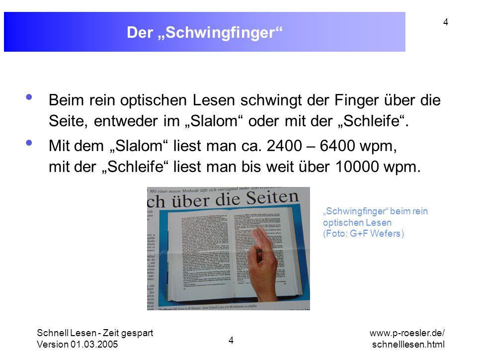 """Der """"Schwingfinger Beim rein optischen Lesen schwingt der Finger über die Seite, entweder im """"Slalom oder mit der """"Schleife ."""