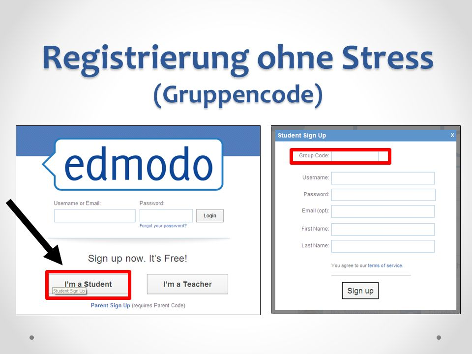 Registrierung ohne Stress