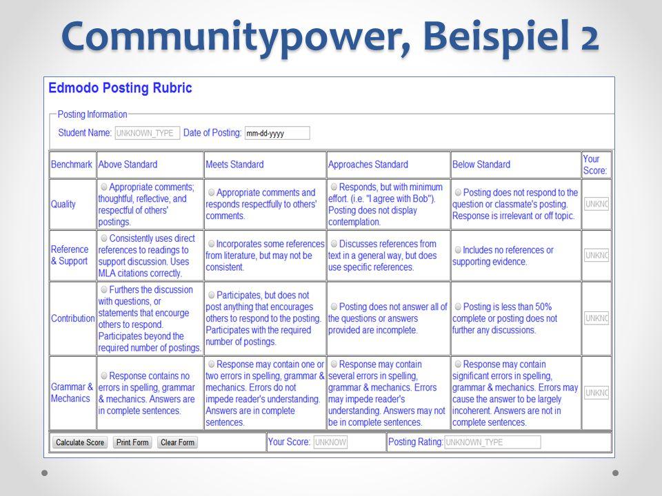 Communitypower, Beispiel 2