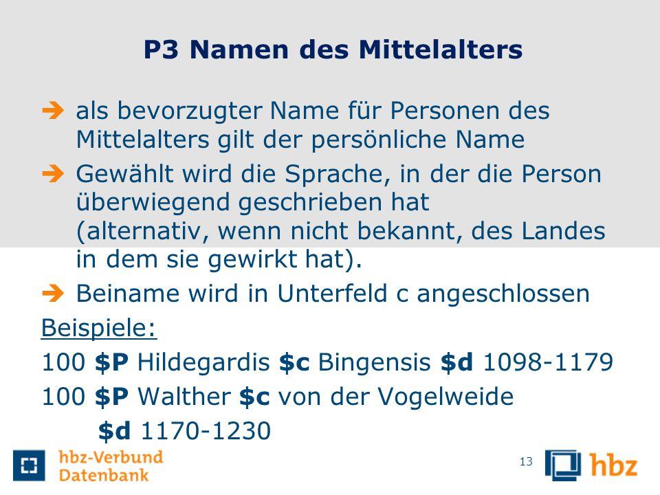 P3 Namen des Mittelalters
