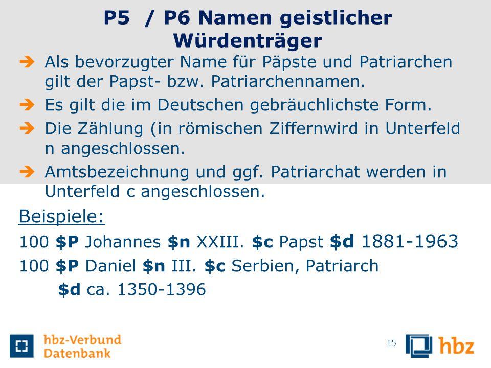 P5 / P6 Namen geistlicher Würdenträger