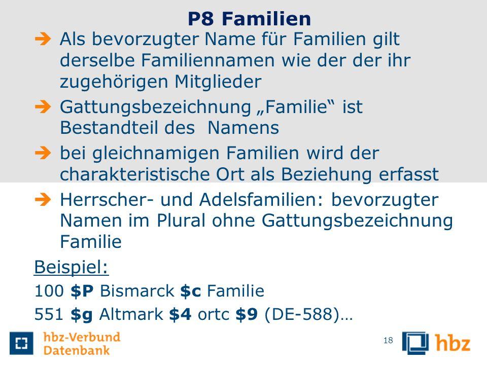 P8 Familien Als bevorzugter Name für Familien gilt derselbe Familiennamen wie der der ihr zugehörigen Mitglieder.