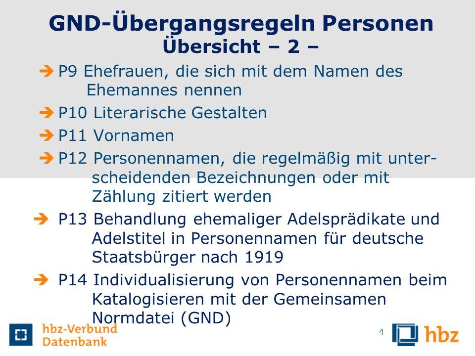 GND-Übergangsregeln Personen Übersicht – 2 –