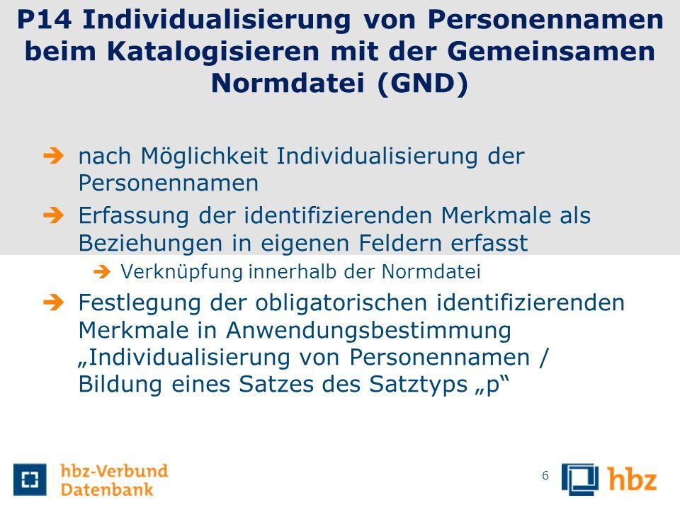 P14 Individualisierung von Personennamen beim Katalogisieren mit der Gemeinsamen Normdatei (GND)