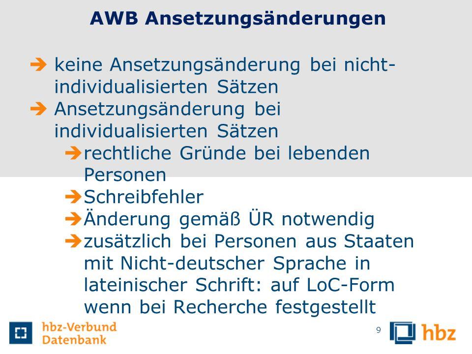 AWB Ansetzungsänderungen