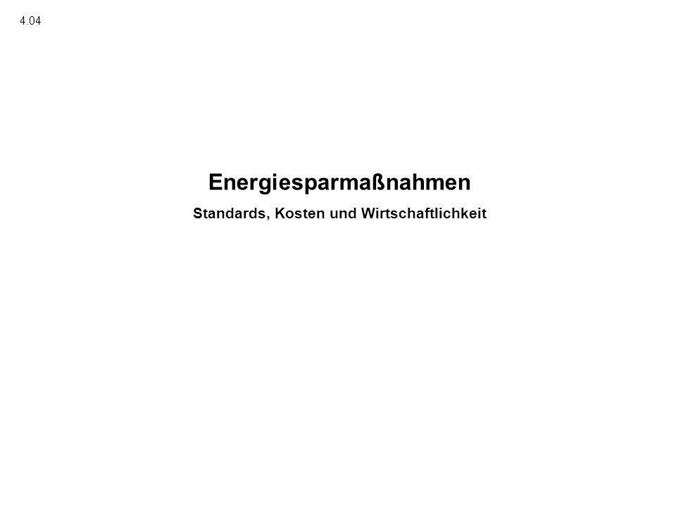Energiesparmaßnahmen Standards, Kosten und Wirtschaftlichkeit