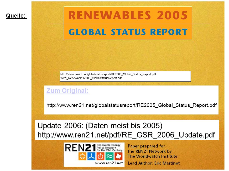 Update 2006: (Daten meist bis 2005)