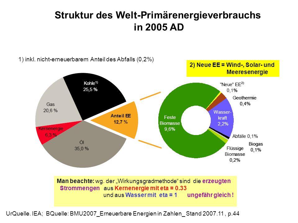Struktur des Welt-Primärenergieverbrauchs
