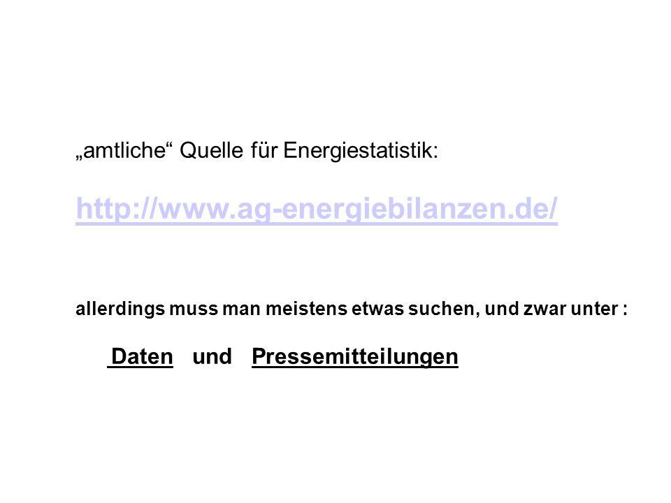 """""""amtliche Quelle für Energiestatistik:"""