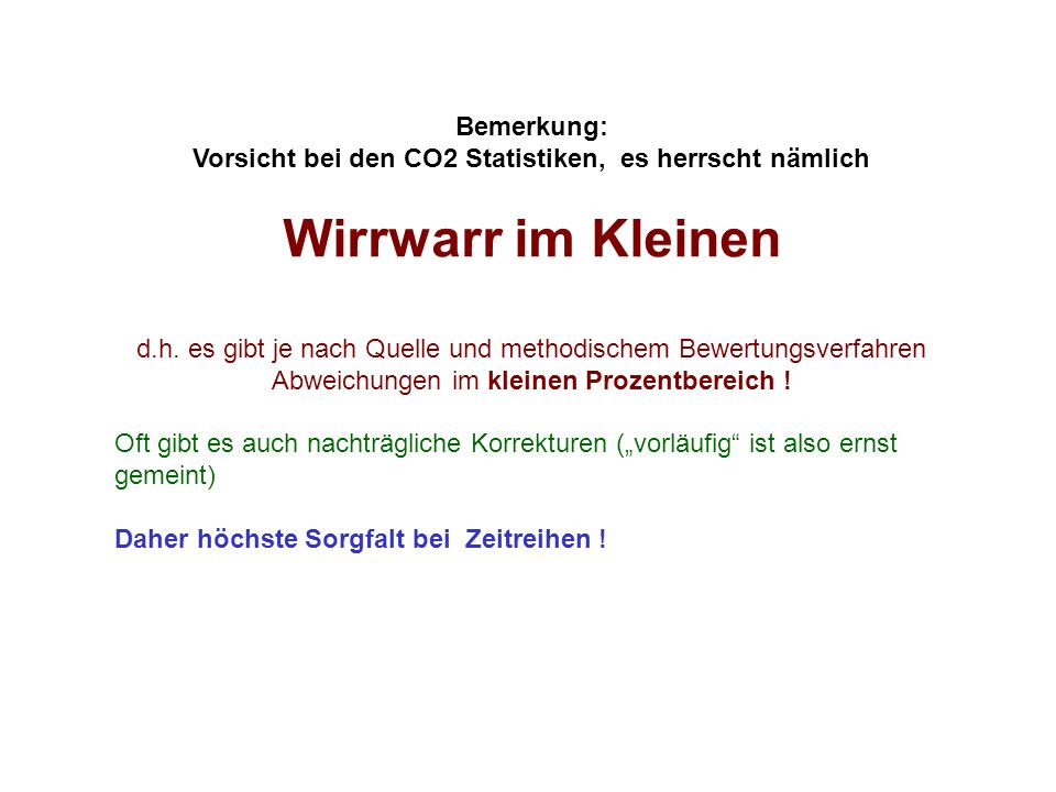 Vorsicht bei den CO2 Statistiken, es herrscht nämlich