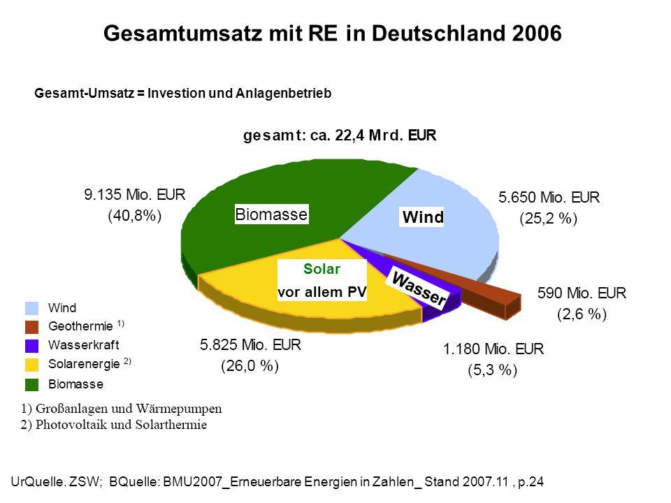 Gesamtumsatz mit RE in Deutschland 2006