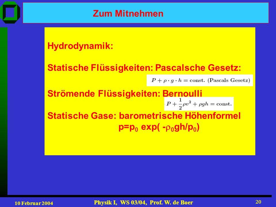 Zum Mitnehmen Hydrodynamik: Statische Flüssigkeiten: Pascalsche Gesetz: Strömende Flüssigkeiten: Bernoulli.