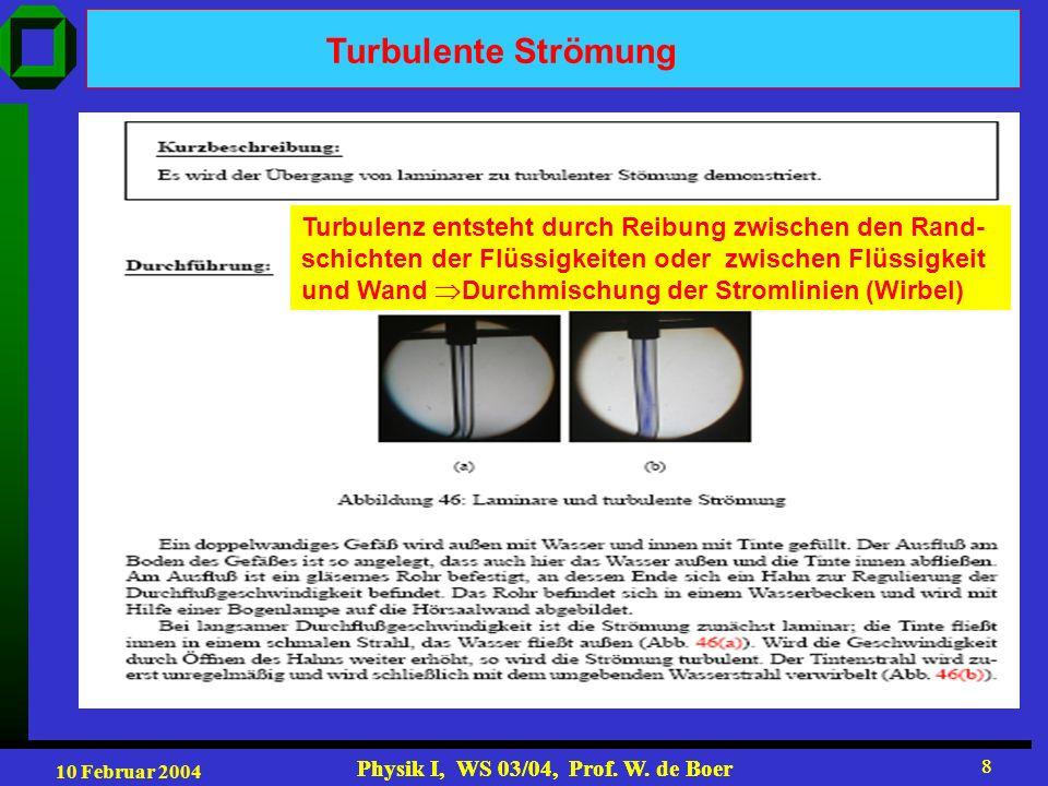 Turbulente Strömung Turbulenz entsteht durch Reibung zwischen den Rand-schichten der Flüssigkeiten oder zwischen Flüssigkeit.