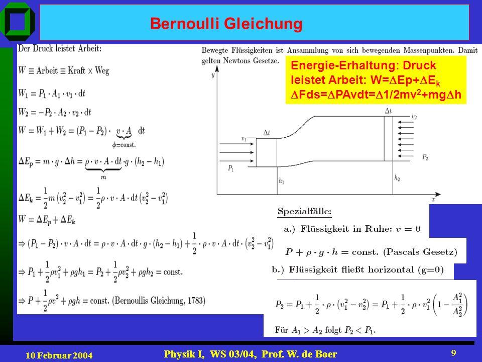 Bernoulli Gleichung Energie-Erhaltung: Druck leistet Arbeit: W=Ep+Ek