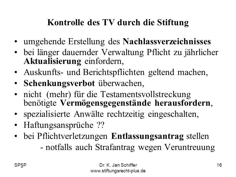 Kontrolle des TV durch die Stiftung