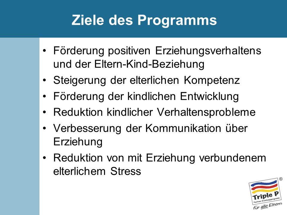 Ziele des ProgrammsFörderung positiven Erziehungsverhaltens und der Eltern-Kind-Beziehung. Steigerung der elterlichen Kompetenz.