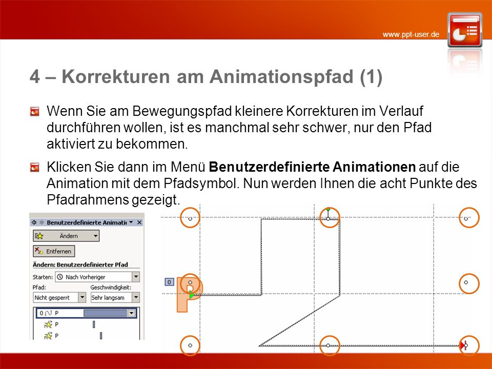4 – Korrekturen am Animationspfad (1)
