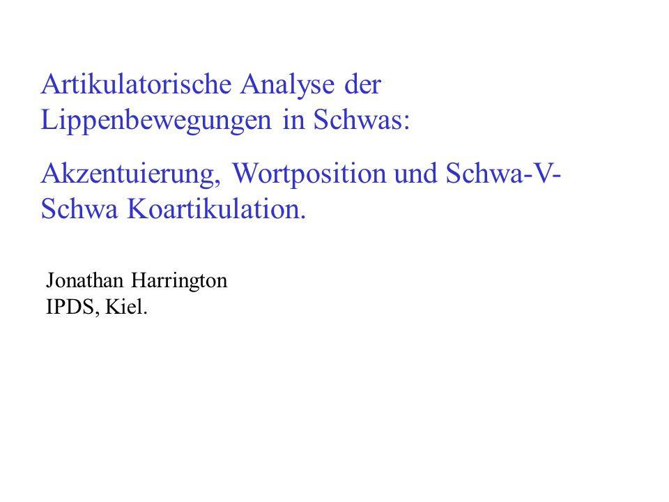 Artikulatorische Analyse der Lippenbewegungen in Schwas: