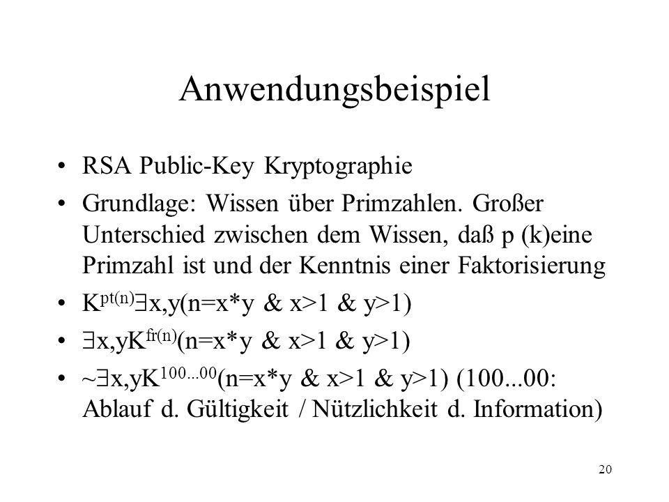 Anwendungsbeispiel RSA Public-Key Kryptographie