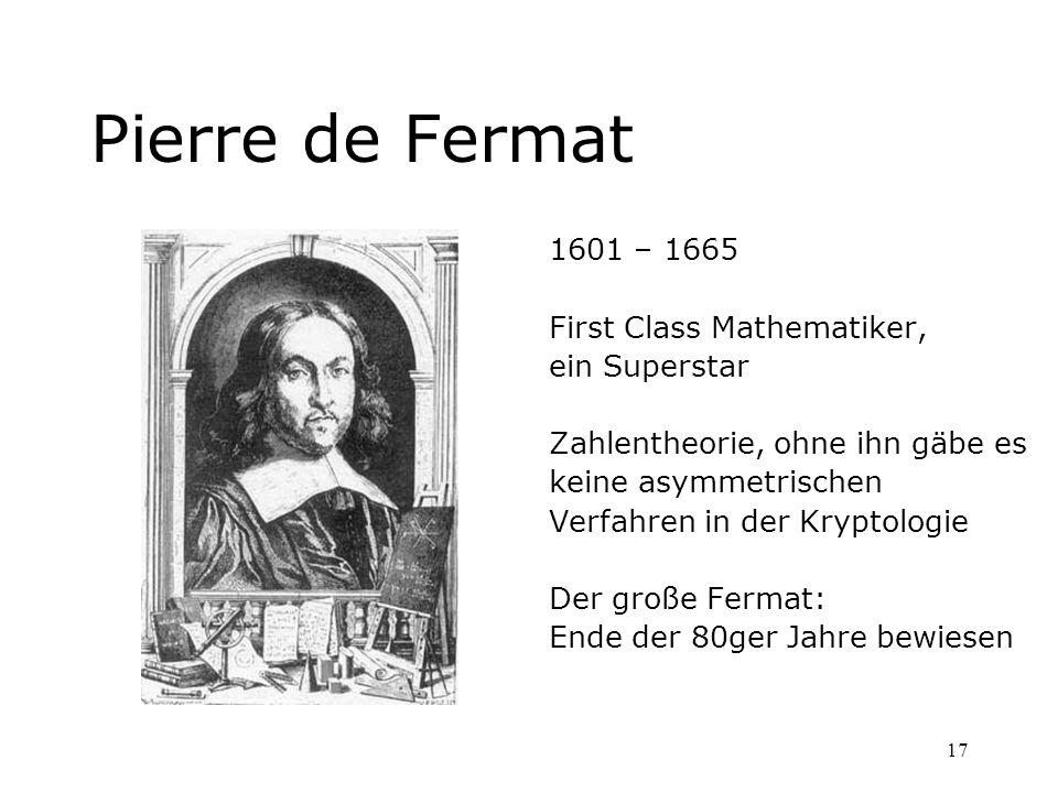 Pierre de Fermat 1601 – 1665 First Class Mathematiker, ein Superstar