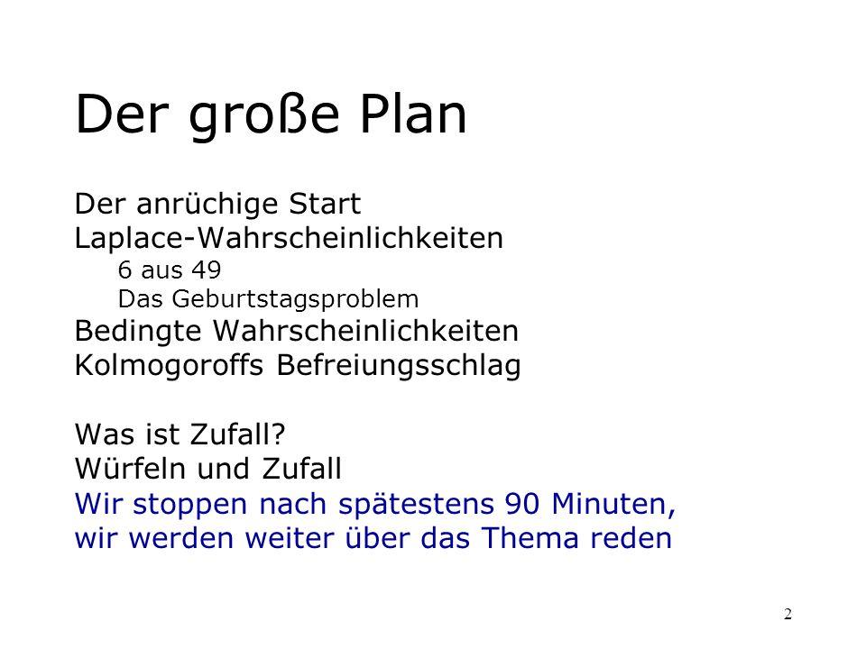 Der große Plan Der anrüchige Start Laplace-Wahrscheinlichkeiten