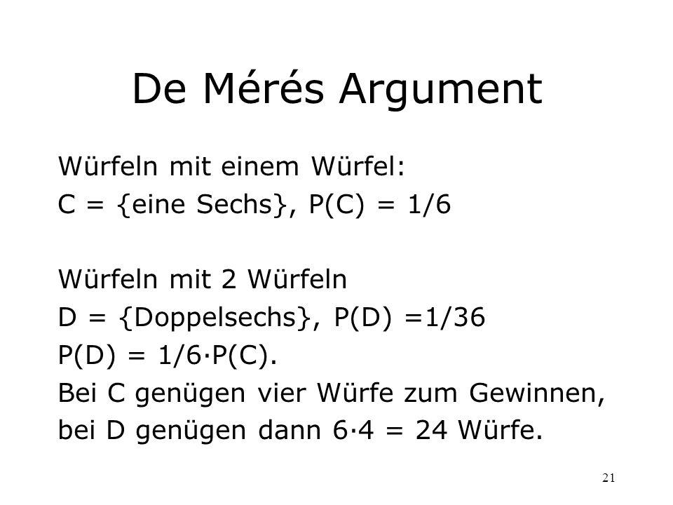 De Mérés Argument Würfeln mit einem Würfel: