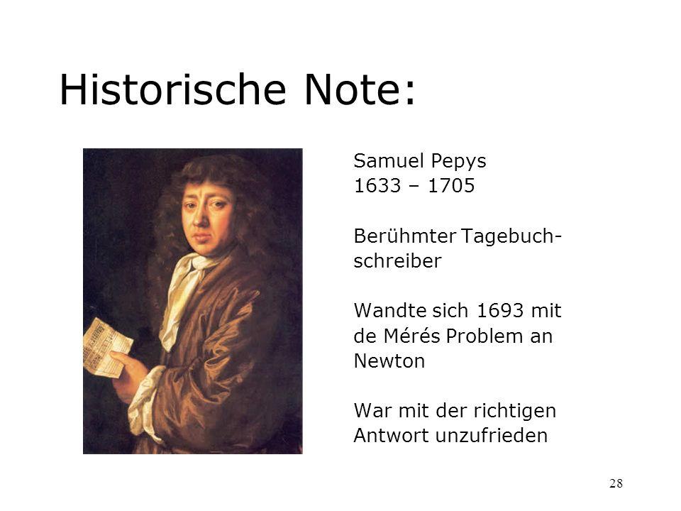 Historische Note: Samuel Pepys 1633 – 1705 Berühmter Tagebuch-
