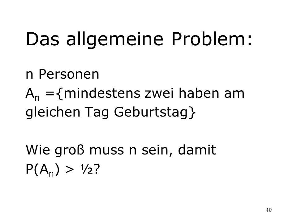 Das allgemeine Problem:
